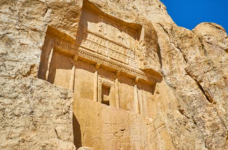 Mausoleum in rock of Naqsh-e Rustam archaeological site, Iran. Stock Photo