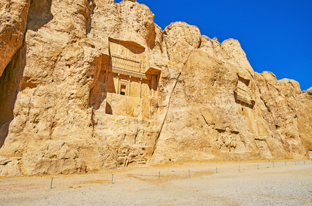 Archaeological zone of Naqsh-e Rustam Necropolis is the famous tourist destination with preserved ancient tombs, cut in rocky cliff, Iran.