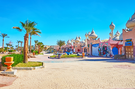 SHARM EL SHEIKH, EGYPT - DECEMBER 15, 2017: The market of 1001 nights is the part of the large entertainment complex, located in tourist district of Habada, on December 15 in Sharm El Sheikh.