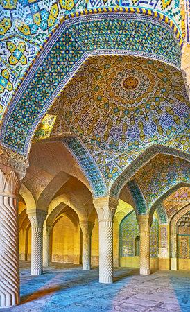 SHIRAZ, IRAN - OCTOBER 12, 2017: The vault in shabestan (prayer hall) of Vakil Mosque boasts complex geometric ornament, on October 12 in Shiraz. Editorial