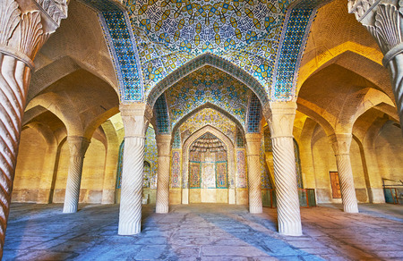 SHIRAZ, IRAN - OCTOBER 12, 2017: Vakil Mosque is one of the medieval religious landmarks of the city, it was constructed in traditional style with carved and tiled elements, on October 12 in Shiraz. Editorial