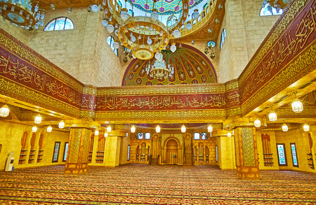 SHARM EL SHEIKH, EGYPT- DECEMBER 15, 2017: Interior of Sahaba mosque, created in fusion of Fatimid, Mamluk and Ottoman style elements, on December 15 in Sharm El Sheikh. Editorial