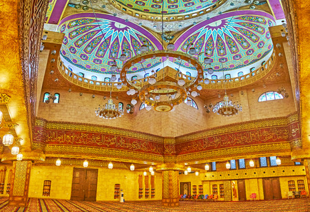 SHARM EL SHEIKH, EGYPT- DECEMBER 15, 2017: Al Sahaba mosque has many prayer halls on different floors, the most beautiful is located on the upper level and boasts colored painted dome and gilt decors, on December 15 in Sharm El Sheikh. Editorial