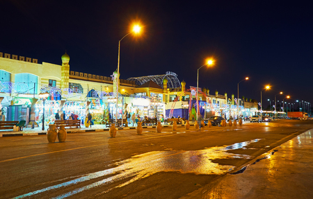 SHARM EL SHEIKH, EGYPT- DECEMBER 15, 2017: The street of Old Bazaar with many stores, cafes and fresh bars, waiting for tourists, on December 15 in Sharm El Sheikh.