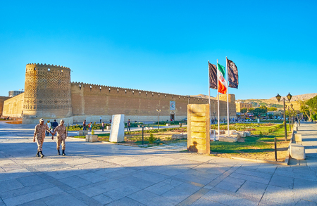 SHIRAZ, IRAN - OCTOBER 12, 2017: Karim Khan Arg (citadel) is well preserved medieval brick fortress with tilted towers, covered with relief patterns, on October 12 in Shiraz. Editorial