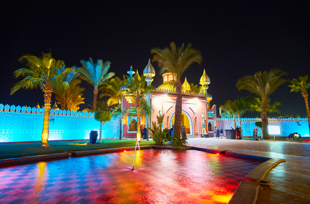 SHARM EL SHEIKH, EGYPT- DECEMBER 15, 2017:The entrance gate of Fantasia Palace decorated with domes and small towers in Arabic style, on December 15 in Sharm El Sheikh.