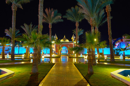 SHARM EL SHEIKH, EGYPT- DECEMBER 15, 2017: Fantasia Palace (1001 nights palace) is the perfect tourist center, offering interesting evening shows, taste local cuisine and walks in garden with fountains, on December 15 in Sharm El Sheikh.