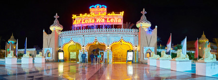SHARM EL SHEIKH, EGYPT- DECEMBER 15, 2017: Panorama of the gateway of modern Fantasia Palace (1001 nights palace), created in fusion of ancient Egyptian and medieval Arabic architectural styles, on December 15 in Sharm El Sheikh.