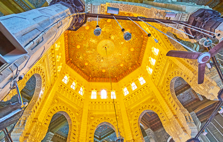 ALEXANDRIA, EGYPT - DECEMBER 17, 2017: The dome Abu al-Abbas al-Mursi Mosque, decorated with carved wooden patterns, on December 17 in Alexandria. Editorial