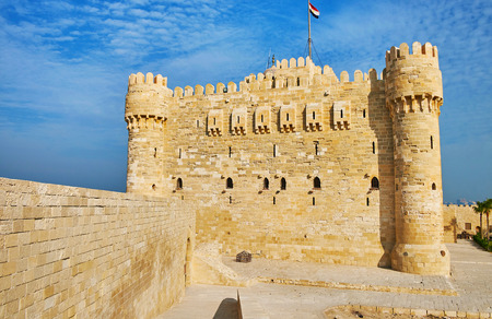 The outer walls of Qaitbay Fort are the best place to overlook area of citadel, enjoy the medieval castle and its surroundings, Alexandria, Egypt.