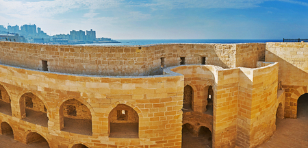 The ruins of medieval soldier barracks and food warehouses of Qaitbay Fort, Alexandria, Egypt.
