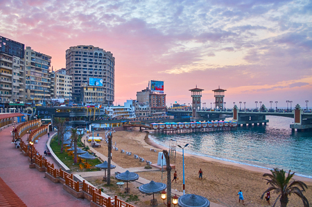 ALEXANDRIA, EGYPT - DECEMBER 17, 2017: The Stanley neighborhood is one of the best places in city to watch the sunset, spending the time in local cafe or walking along El-Gaish road, on December 17 in Alexandria.