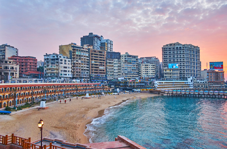 ALEXANDRIA, EGYPT - DECEMBER 17, 2017: The Stanley private access beach is surrounded by restaurants, lounge cafes and hotels, on December 17 in Alexandria. Editorial