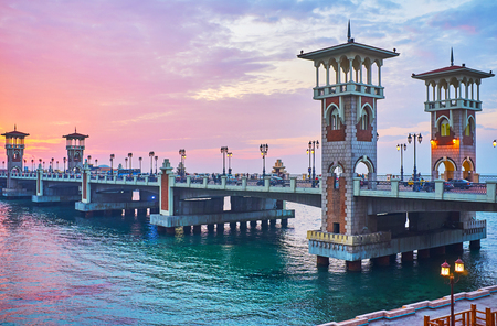 Stanley bridge is one of the most romantic locations in city, it stretches over the sea and attracts tourists and locals with its beautiful design, Alexandria, Egypt.