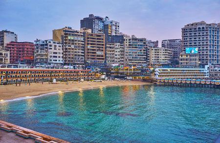ALEXANDRIA, EGYPT - DECEMBER 17, 2017: Stanley beach is beautiful location in heart of urban district, it boasts numerous cafes and hotels, on December 17 in Alexandria.