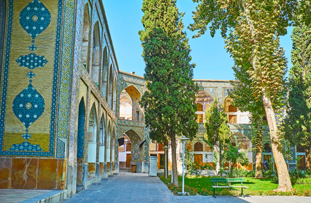 The medieval theological schools of Iran, such as Chaharbagh madraseh, boasts lush and shady gardens, located in large couryards, Isfahan.