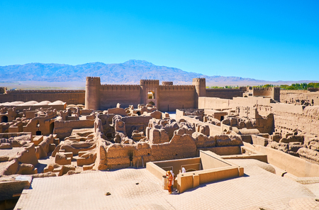 Medieval adobe Arg-e Rayen fortress in located at the foot of Haraz mount, Iran. Stock Photo