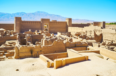 The ancient Arg-e Rayen fortress, built of mudbricks and located in Kerman province, Rayen, Iran.