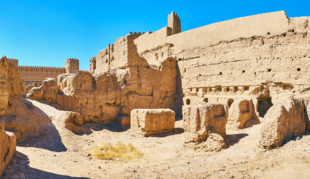 The clay ruins of medieval residential buildings at the ramparts of Rayen Fortress, Iran.