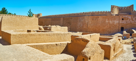 Rayen archaeological site include well preserved ruins of medieval adobe fortress - Governors mansion, city ramparts, residential housing,  workshops and Zurkhaneh building, Iran.