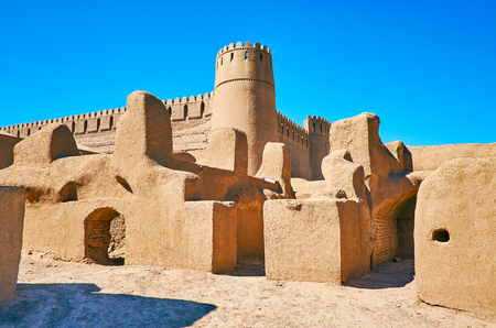 Arg-e Rayen is second largest in world adobe fortress, located in desert of Kerman Province, Iran. Stock Photo