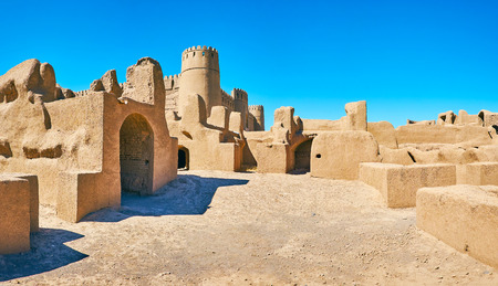 Arg-e Rayen is well preserved adobe fortress, located on the old trade route in desert of Kerman Province, Iran. Stock Photo