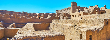 Rayen citadel is one of the largest ancient adobe structures in the world, located in Kerman Province, Iran. Stock Photo