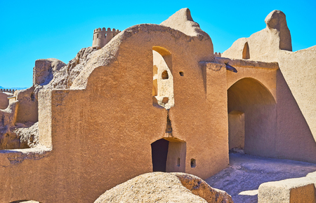 Restored archaeological site of Arg-e Rayen citadel is popular tourist attraction in Kerman Province, Iran. Stock Photo