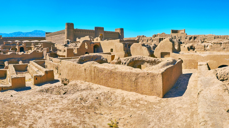 The archaeological  complex of Arg-e Rayen is notable tourist landmark with preserved examples of ancient art, defensive and residential architecture, Iran. Stock Photo