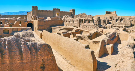 Rayen deserted citadel is the perfect example of the ancient defensive architecture, Kerman Province, Iran. Stock Photo