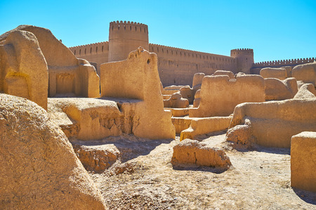 Rayen is one of the famous deserted adobe citadels of the country with well preserved architecture and interesting history, Kerman Province, Iran.
