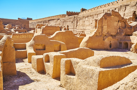 Arg-e Rayen, preserved in desert of Kerman province, is the best place to enjoy the ancient architecture and culture of region, Iran. Stock Photo
