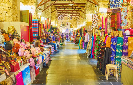 DOHA, QATAR - FEBRUARY 13, 2018: The alleyways of Souq Waqif are perfect place for shopping in Arabic traditions, local stores boast wide range of goods for each price and taste, on February 13 in Doha