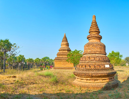 Archaeological zone of Bagan consists of numerous preserved stupas, scattered across the plain on the territory of former ancient kingdom, Myanmar