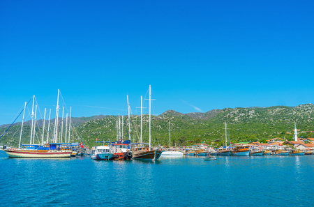 Explore Kekova bay on luxury sail yacht, enjoy the beauty of nature, landscape, archaeological sites of ancient Lycia and historical villages, Turkey.