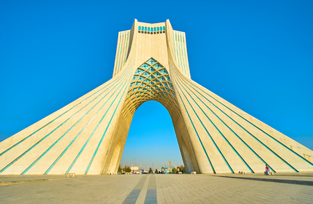 TEHRAN, IRAN - OCTOBER 25, 2017: Beautiful high Azadi Tower became the main symbol of the city and one of the most beloved place among local youth, on October 24 in Tehran