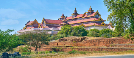 The view on beautiful oriental style building with terraced roof, Old Bagan, Myanmar