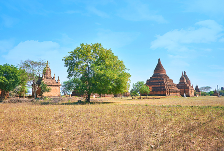 Bagan is the main archaeological site in Myanmar with numerous ancient religion edifices and scenic landscape Reklamní fotografie