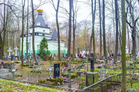 SAINT PETERSBURG, RUSSIA - APRIL 26, 2015: The Chapel of Blessed Xenia, the patron saint of Saint Petersburg located in Smolensk cemetery, on April 26 in S. Petersburg