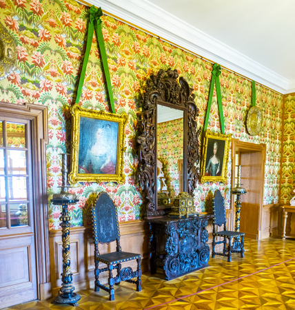 SAINT PETERSBURG, RUSSIA - APRIL 26, 2015: The hall of Menshikov Palace boasts untypical of its time posh decorations, on April 26 in S. Petersburg