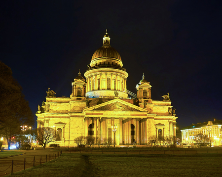 The view on Saint Isaacs Cathedral, the beautiful neoclassical style building with huge dome, Saint Petersburg, Russia Stock Photo