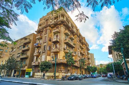 CAIRO, EGYPT - DECEMBER 24, 2017:  The dusty residential quarters along Al Qasr Al Nil street of Downtown, on December 24 in Cairo Redakční