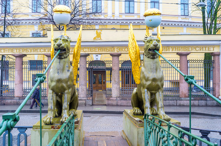SAINT PETERSBURG, RUSSIA - APRIL 27, 2015: The Bank Bridge is one of the most beloved in the city due to beautiful sculpture of Griffins, mounted in its edges, on April 27 in S. Petersburg