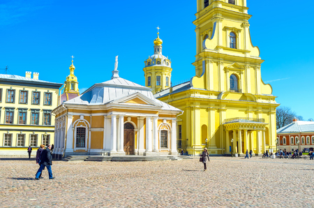 SAINT PETERSBURG, RUSSIA - APRIL 27, 2015:  Peter and Paul Citadel with its main square is one of the most beloved places in the city among tourists, on April 27 in S. Petersburg 에디토리얼
