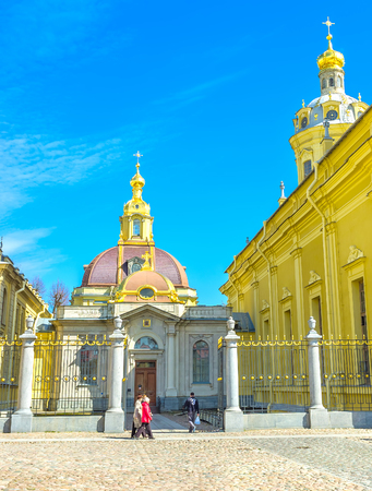 SAINT PETERSBURG, RUSSIA - APRIL 27, 2015:  The entrance to the Grand Ducal Burial Vault, the beautiful architectural structure that adjoins to Peter and Paul Cathedral, on April 27 in S. Petersburg