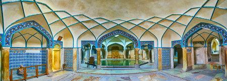 KERMAN, IRAN - OCTOBER 15, 2017: Panorama of preserved bathing hall in Hammam-e Ganjali Khan, one of the most popular city landmarks, on October 15 in Kerman.