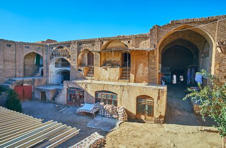 The bad condition of historical Hindu Caravanserai, located in heart of Grand Bazaar, Kerman, Iran. Stok Fotoğraf