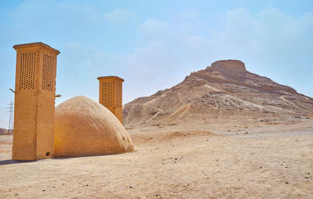 The Towers of Silence (Dakhma) is ancient archaeological site, preserved in desert next to Yazd with khaiele ceremonial buildings, burial towers and yakhchal (ice chamber), Iran.