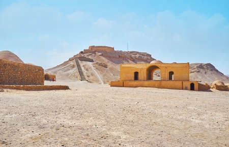 The Towers of Silence, preserved in desert next to Yazd, were used for Zoroastrian burial rituals and nowadays serve as the archaeological site, Iran.