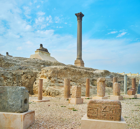 The Amoud Al Sawari archaeological site boasts preserved Pompeys Pillar - the victory column of Diocletian and the ruins of Greek Serapeum Temple, dedicated to patron of the ancient Alexandria, Egypt.